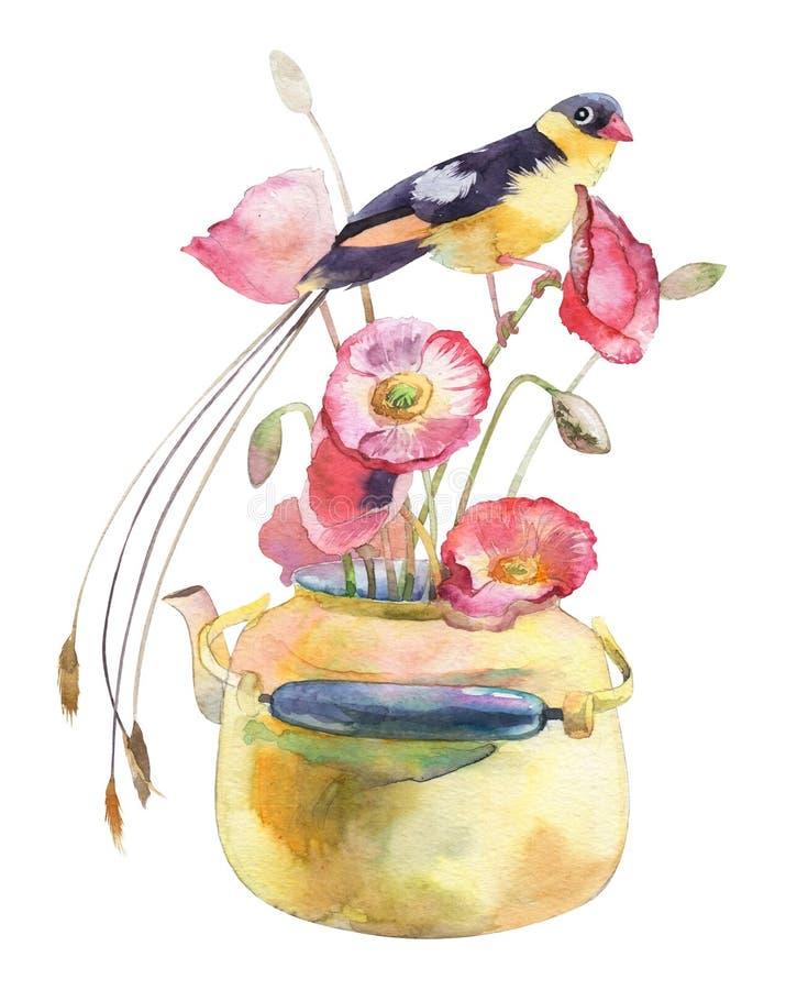 Vida do destilador da aquarela com um pássaro imagens de stock