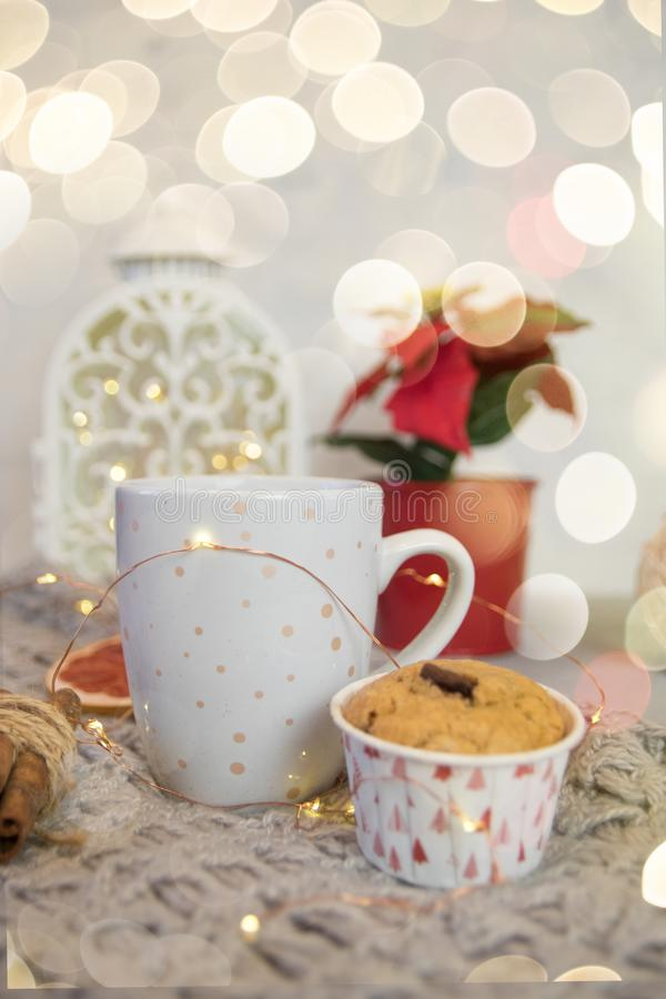 Vida do destilador do inverno do lenço, da caneca branca de cacau, do café ou do chocolate quente, queque, árvore de Natal na man foto de stock royalty free
