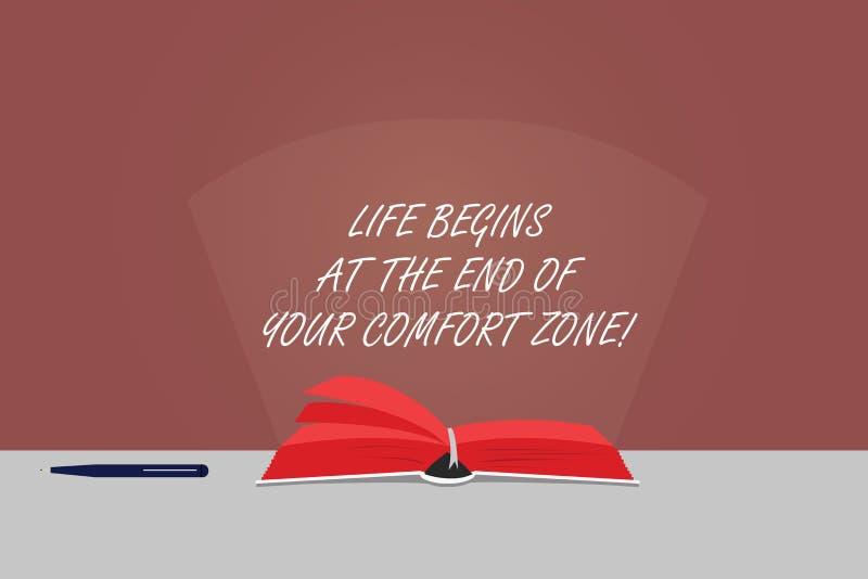 A vida do texto da escrita da palavra começa no fim de sua zona de conforto Conceito do negócio para Make mudanças evoluir para c ilustração royalty free