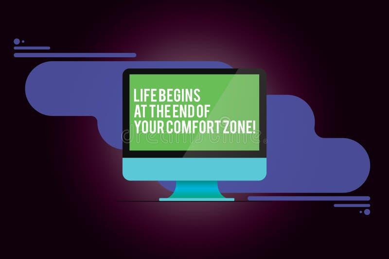 A vida do texto da escrita da palavra começa no fim de sua zona de conforto Conceito do negócio para Make mudanças evoluir para c ilustração stock