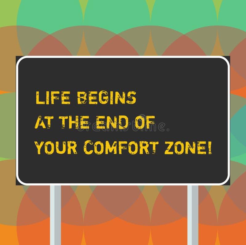 A vida do texto da escrita da palavra começa no fim de sua zona de conforto Conceito do negócio para Make mudanças evoluir para c ilustração do vetor