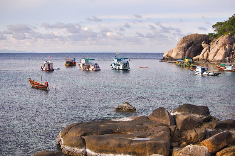 A vida dos pescadores em Koh Tao-Thaialnd fotos de stock