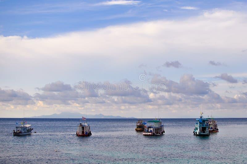 A vida dos pescadores em Koh Tao-Thaialnd fotografia de stock