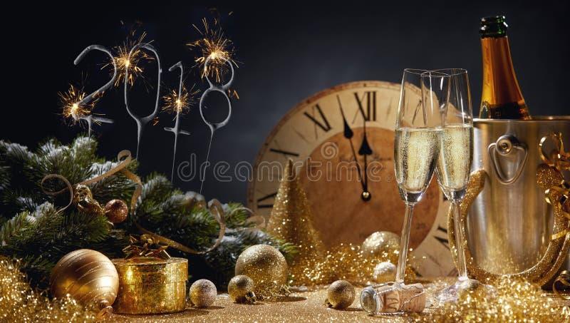 vida dourada festiva do ano 2018 novo ainda imagem de stock