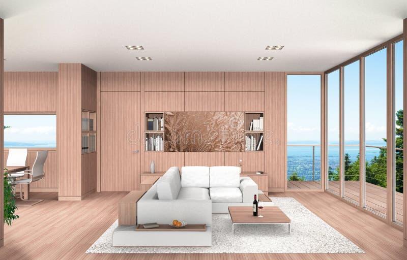 Vida e sala de jantar com paneling da madeira de faia ilustração do vetor
