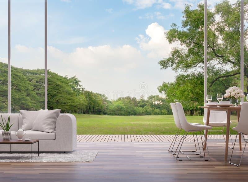 Vida e sala de jantar modernas com jardim verde 3d para render ilustração stock