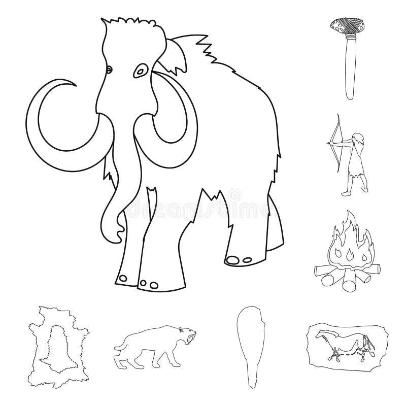 Vida en los iconos del esquema de la Edad de Piedra en la colección del sistema para el diseño Ejemplo del web de la acción del s libre illustration