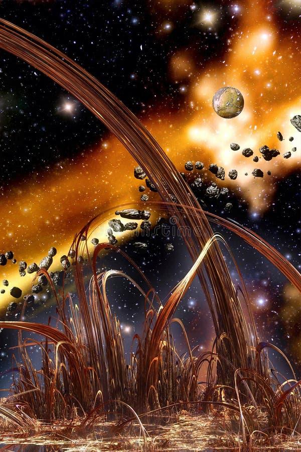 Vida extranjera de los asteroides ilustración del vector