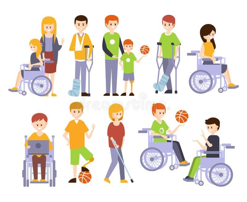 Vida feliz completa de vida dos povos fisicamente deficientes com grupo da inabilidade de ilustrações com os homens deficientes d ilustração royalty free