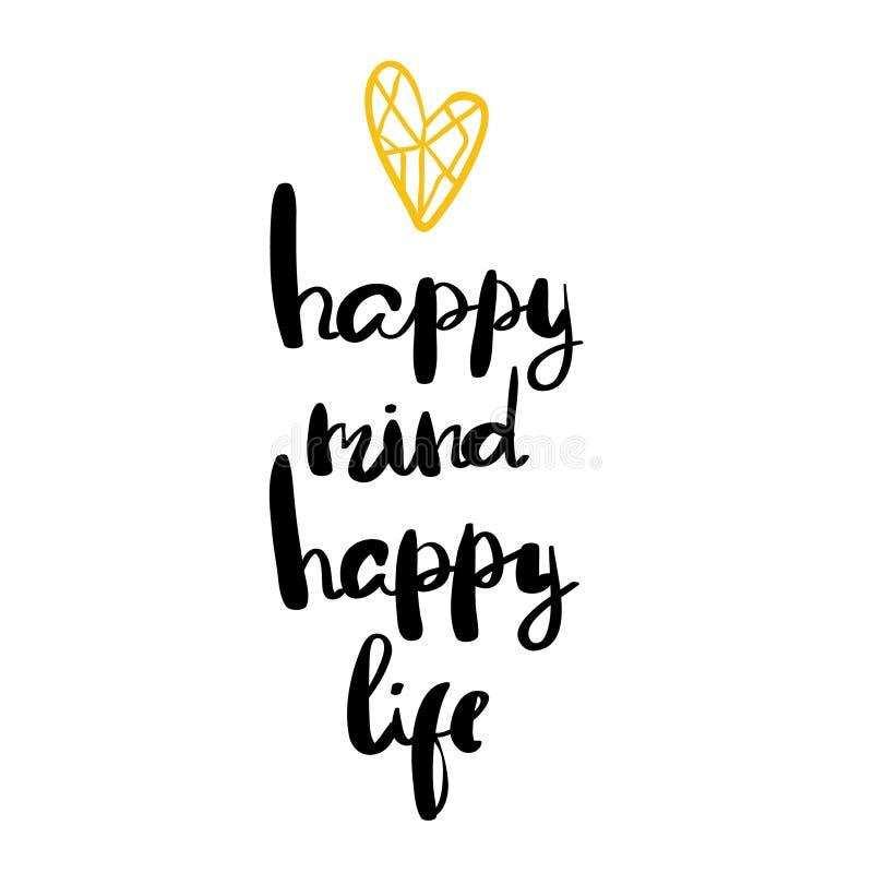 Vida feliz da mente feliz que ettering para cartazes ilustração royalty free
