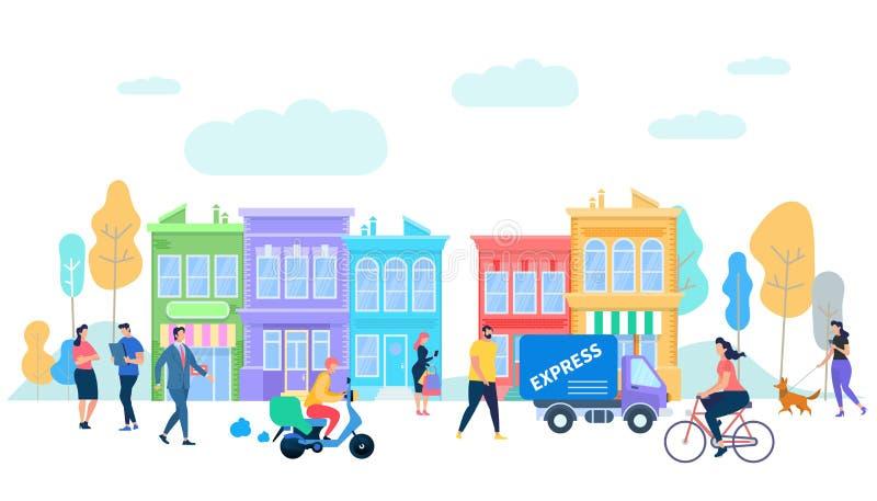 Vida humana en la ciudad de Moder Actividad del tiempo de verano stock de ilustración