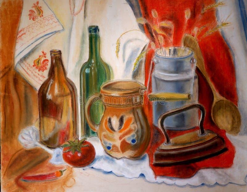 Vida imóvel pastel com garrafas de vidro e ferro, cores vermelhas ilustração stock