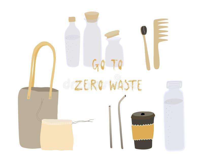 Vida inútil cero Estilo de Eco ningún plástico va el verde Cosas reutilizables Objetos del vector fijados Ilustración drenada man stock de ilustración