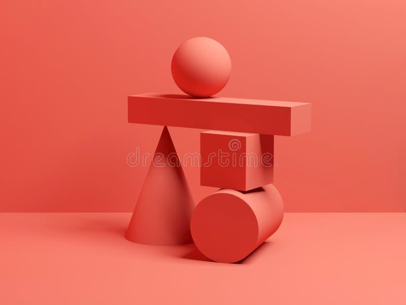 Vida inmóvil digital roja 3 d del equilibrio del extracto imagen de archivo libre de regalías