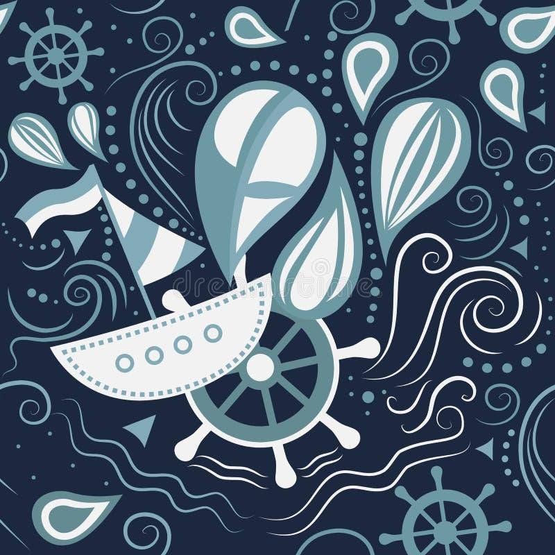 Vida marina inconsútil del modelo del vector libre illustration