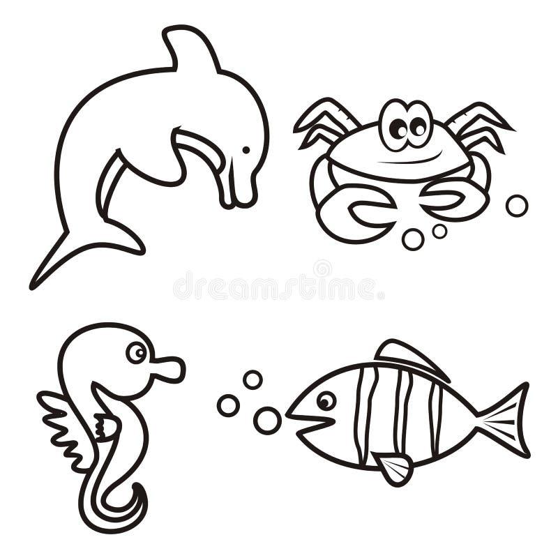 Vida Marina - Libro De Colorear Ilustración del Vector - Ilustración ...