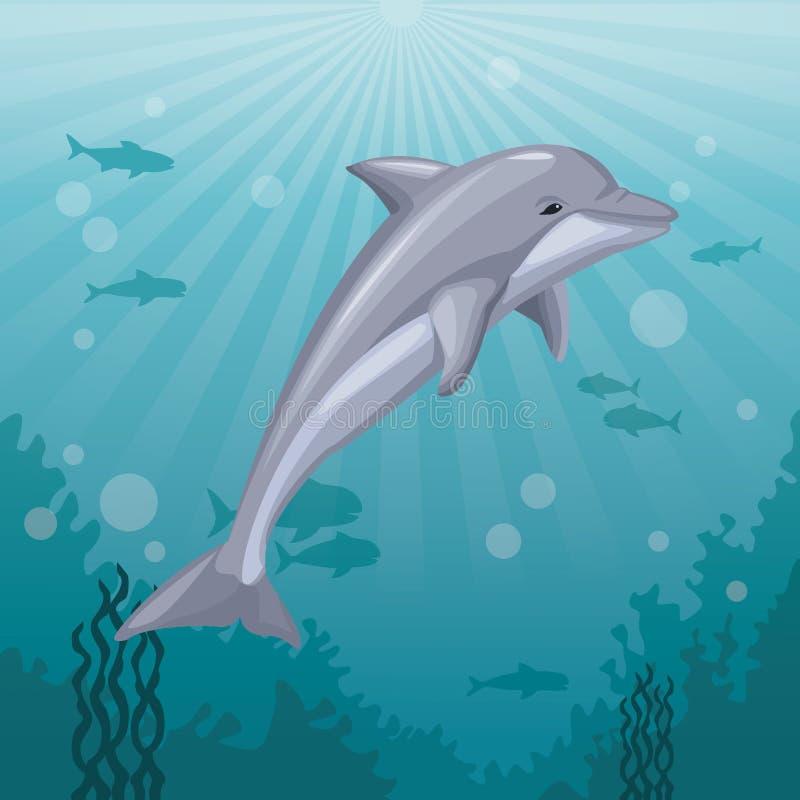 Vida marinha subaquática da paisagem colorida do mar do fundo e golfinho do mamífero ilustração stock