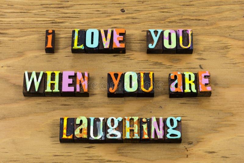Vida melhor para amá-lo citações de riso da tipografia do riso fotografia de stock