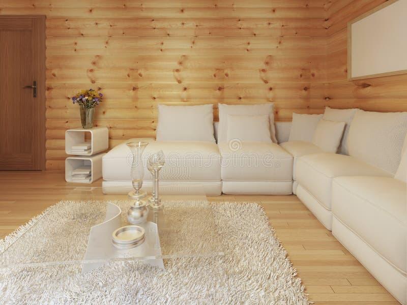 Vida moderna en un interior del registro con el sofá de la esquina blanco grande stock de ilustración