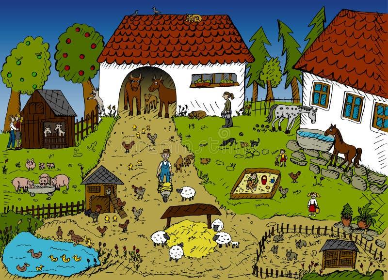 Vida na exploração agrícola ilustração do vetor