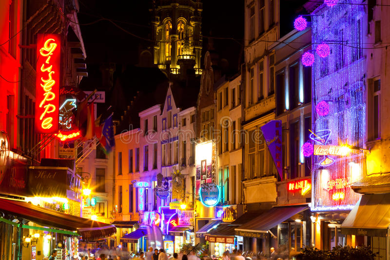Vida nocturna de Bruselas fotografía de archivo libre de regalías