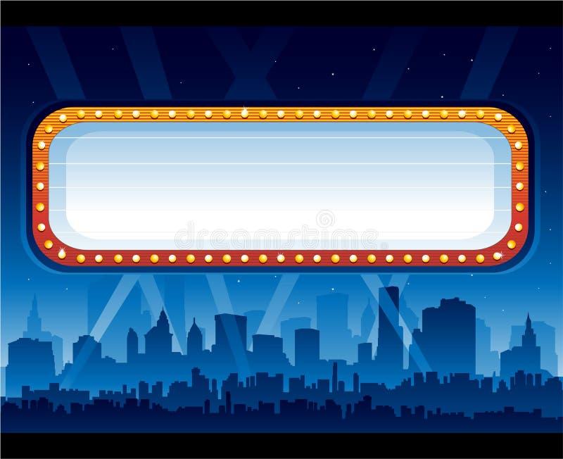 Vida nocturna de la ciudad con la cartelera ilustración del vector