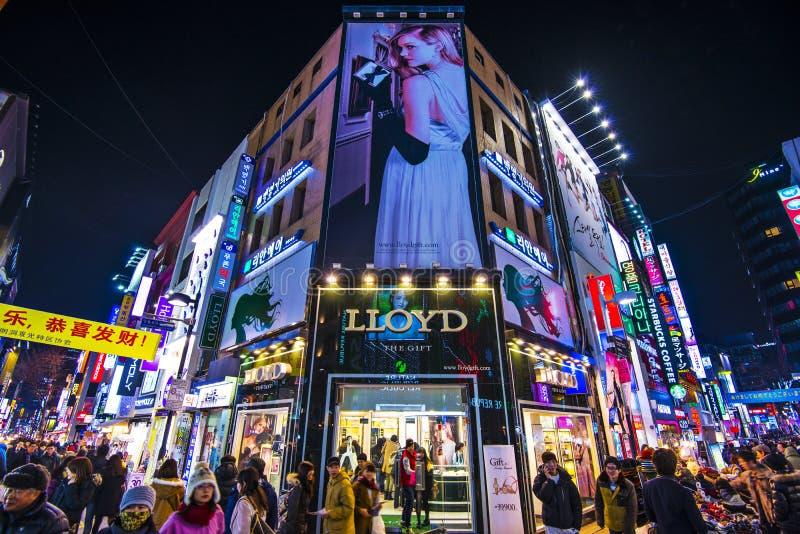 Vida nocturna de Seul fotografía de archivo libre de regalías
