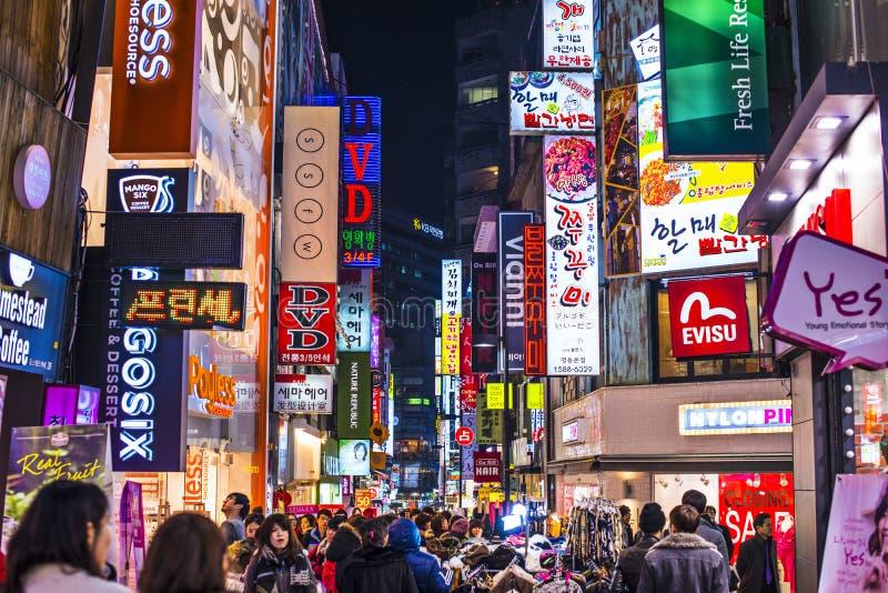 Vida nocturna de Seul foto de archivo libre de regalías
