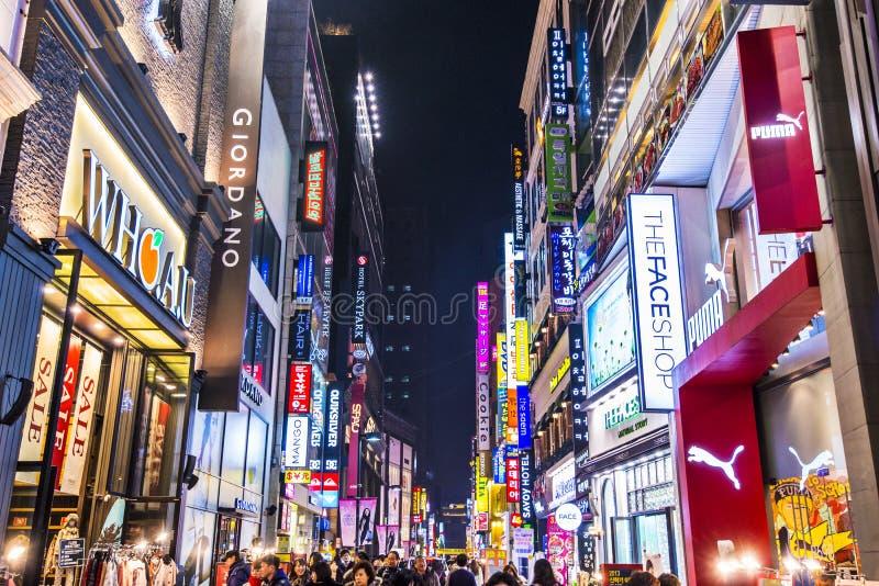 Vida nocturna de Seul foto de archivo