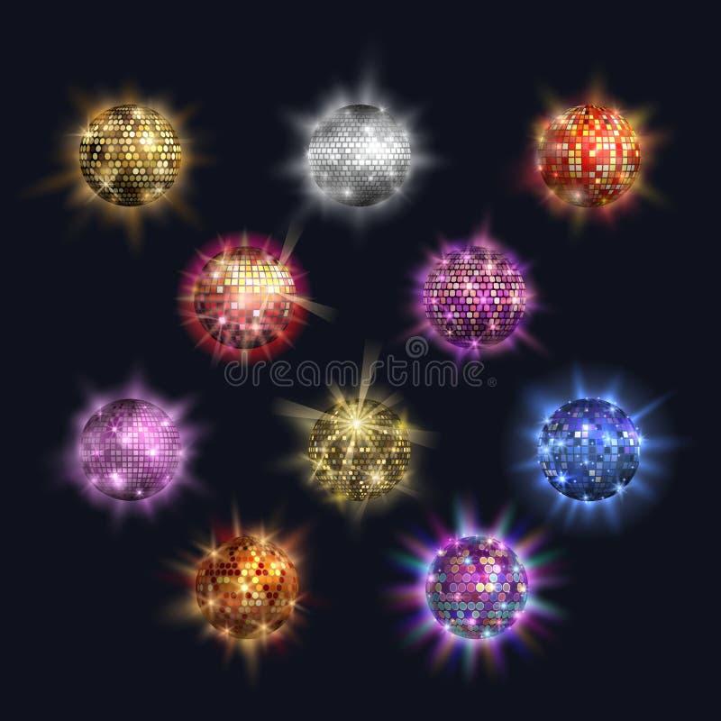 Vida nocturna retra del partido del brillo de la esfera del club del vector de las bolas de discoteca Diseño brillante del partid ilustración del vector