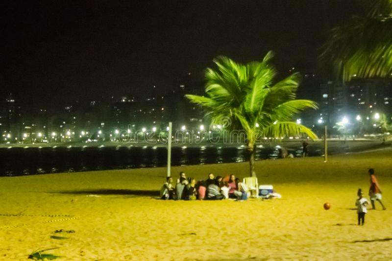 Vida noturna na praia da costela da Dinamarca do Praia, Vila Velha, EspÃrito Santo State, Brasil fotografia de stock