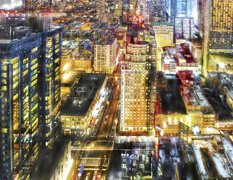 Vida noturno colorida da cidade fotos de stock royalty free