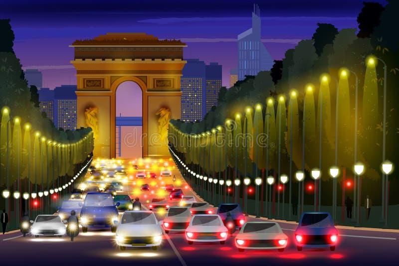 Vida noturno da cidade da rua Paris de Champs-Elysees, França ilustração royalty free