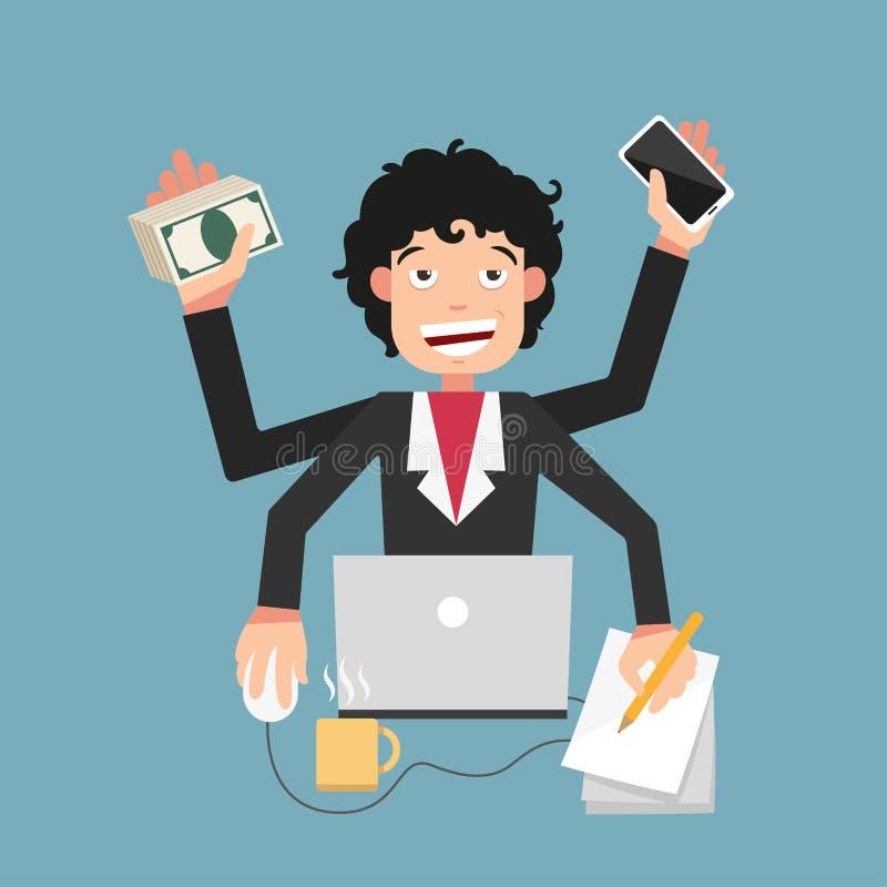 Vida ocupada del hombre de negocios ilustración del vector
