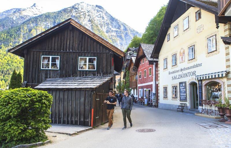 A vida, pessoa, natureza na vila de Hallstatt em Áustria imagem de stock