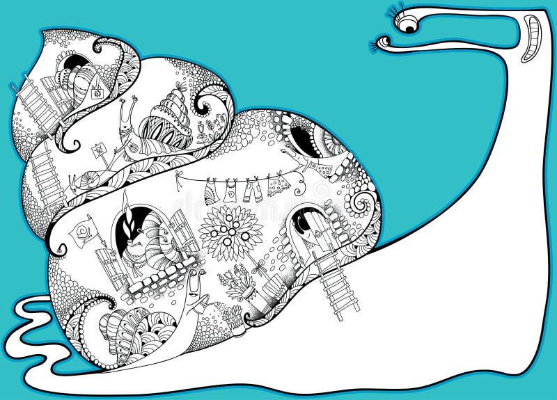 Vida privada dos caracóis Vector a composição com os caracóis grandes e pequenos do esboço em preto e branco no fundo do torquois
