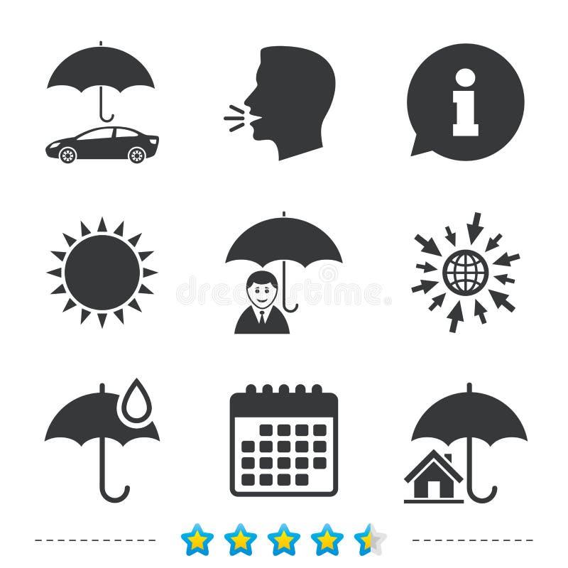 Vida, propiedades inmobiliarias o icono casero del seguro ilustración del vector