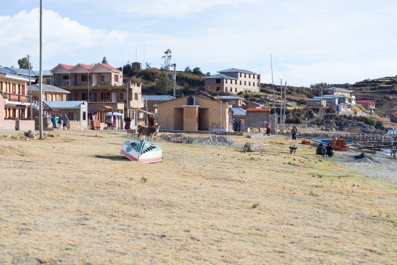 Vida rural en la isla del Sun, lago Titicaca, Bolivia fotos de archivo libres de regalías