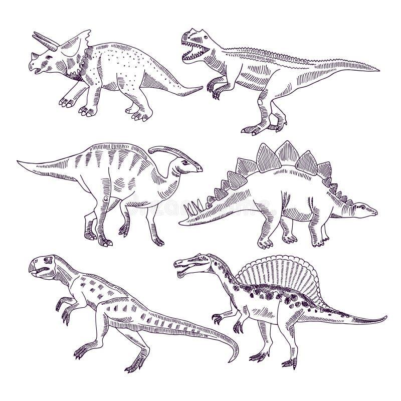 Vida salvaje con los dinosaurios Los ejemplos dibujados mano fijaron de rex de t y de otros tipos de Dino ilustración del vector