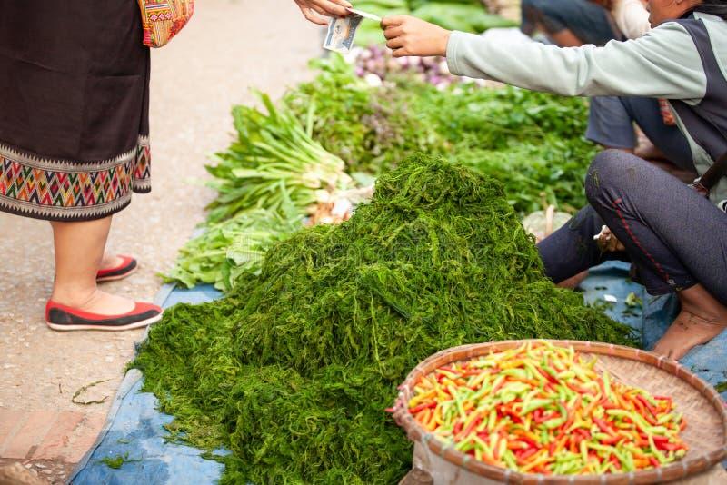 Vida simple, gente de Laos en el mercado diario de la mañana Lugares geométricos frescos fotos de archivo libres de regalías