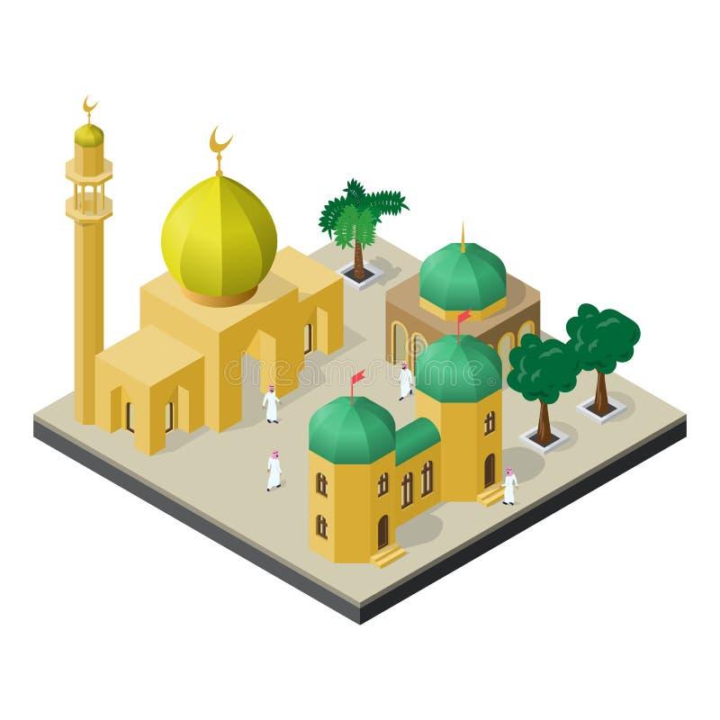 Vida urbana árabe na vista isométrica Mesquita, muçulmanos, construções urbanas e árvores ilustração stock