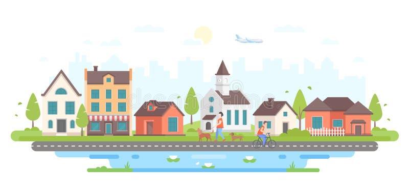 Vida urbana calma - ilustração lisa moderna do vetor do estilo do projeto