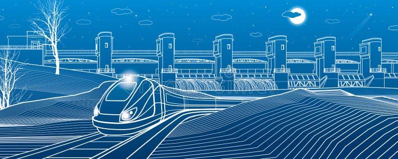 Vida urbana El tren va a lo largo del banco del lago Central hidroeléctrica en el fondo Presa del río, estación de la energía, po stock de ilustración