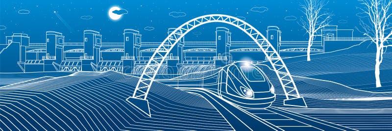 Vida urbana El tren va a lo largo del banco del lago Central hidroeléctrica en el fondo Presa del río, estación de la energía, po ilustración del vector