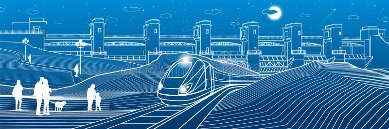 Vida urbana Gente en la estación de tren El tren va a lo largo del banco del lago Central hidroeléctrica en el fondo Presa del rí ilustración del vector