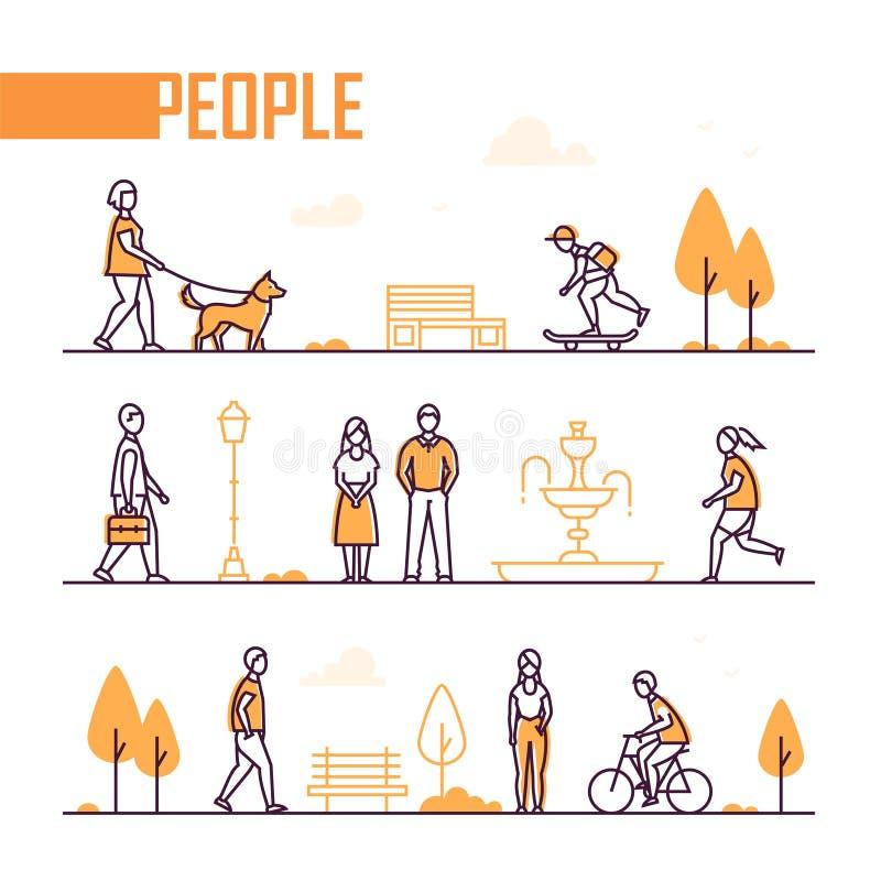 Vida urbana - grupo de linha elementos do estilo do projeto ilustração royalty free