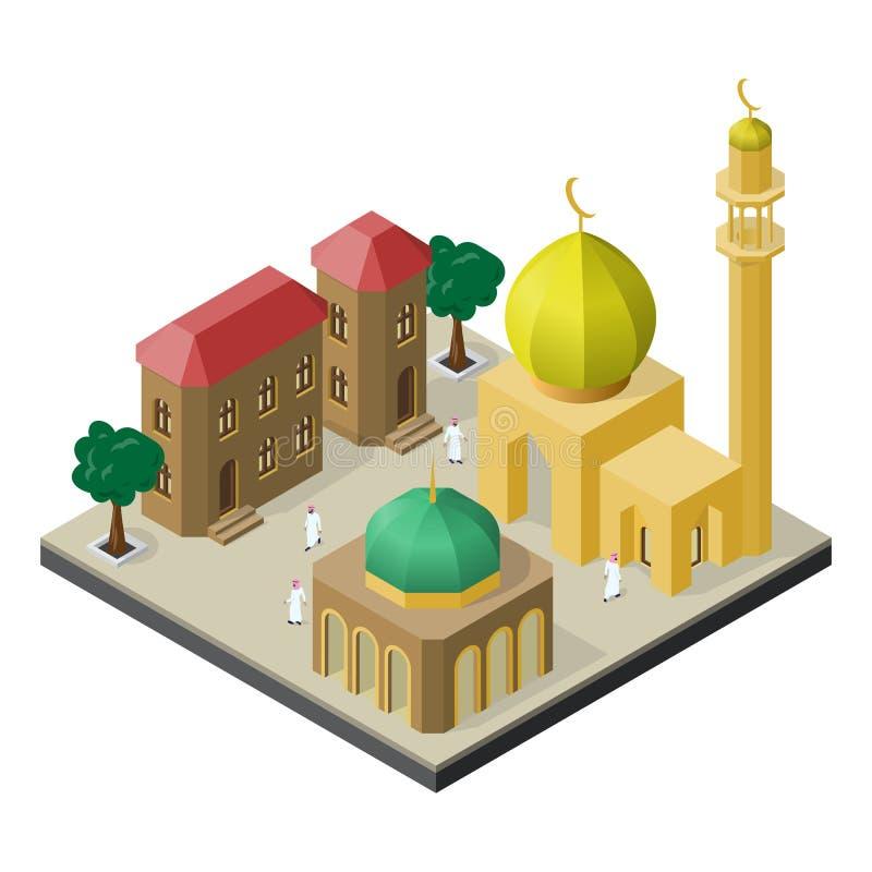 Vida urbana oriental na vista isométrica Mesquita, muçulmanos, construções urbanas e árvores ilustração stock