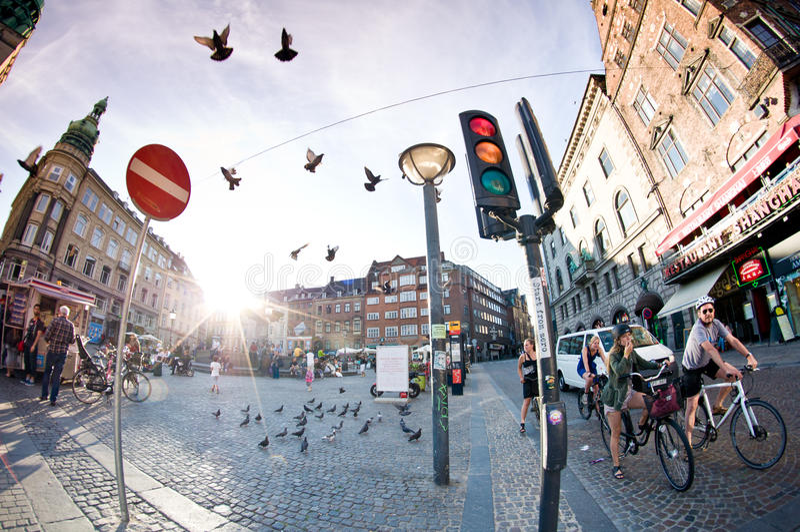 Vida vibrante em Copenhaga fotos de stock royalty free