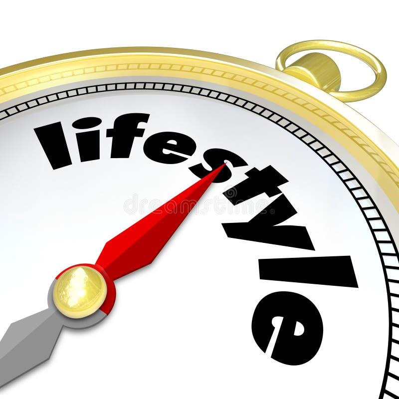 Vida viva agradável do compasso dourado da palavra do estilo de vida ilustração royalty free
