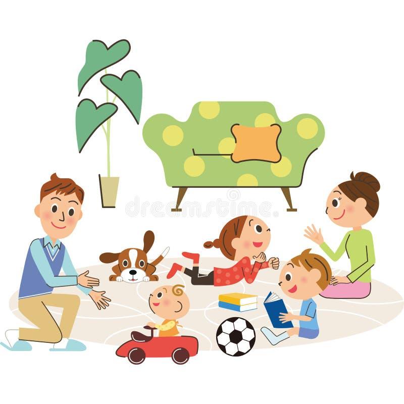 Vida y familia stock de ilustración